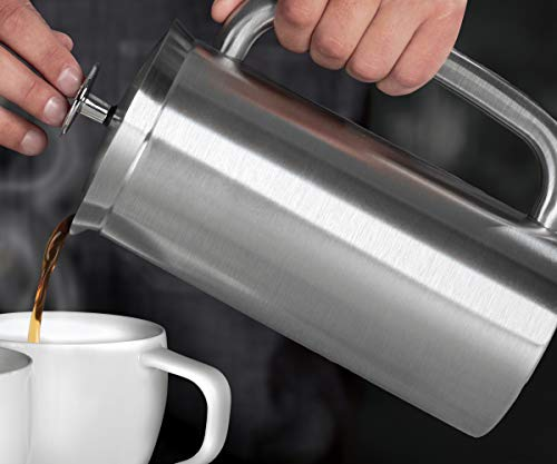 ESPRO P7 Double Walled Stainless Steel Insulated Coffee French Press, 32 Ounce, Brushed Stainless Steel
