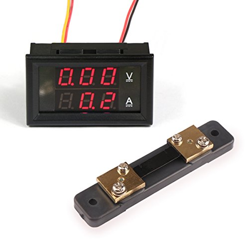 Droking Mini Digital-Amperemeter/Voltmeter Dual Display Strom Spannung Tester DC 0-100V / 50A Autobatterie Monitor LED-Anzeige mit Current Shunt (rot+rot)