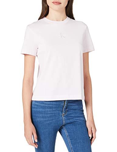 Calvin Klein Jeans Monogram Logo tee Camiseta, Rosa Perlado/Gris Tranquilo, XL para Mujer