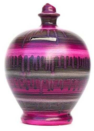 Terramundi - Salvadanaio in ceramica con decorazione in argilla semiliquida, colore: Rosa, Viola e Grigio