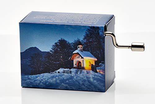 """Spieluhr mit dem beliebten Weihnachtslied""""Stille Nacht"""" (Kurbelwerk, Mini-Drehorgel, Spieldose, Musik Box) schönes Geschenk im kunstvoll bedruckten Karton mit abgedruckten Liedstrophen"""