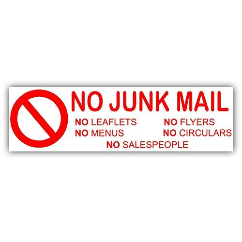 Geen Junk Mail/Folders/Menu/Flyers/Circulars Sticker Sign - 15 x 4.5 cm