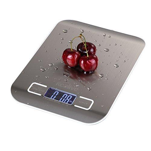 Kealive Báscula de Cocina Digital de Cocina Escala de 5000g/11Lb multifunción de Acero Inoxidable de Alimentos Escala con Pantalla LCD para Principal Uso Diario (2Pilas AAA Incluido)