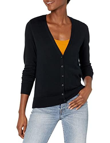 Amazon Essentials Women's Classic Fit Lightweight Long-Sleeve V-Neck Cardigan Sweater, Black, Medium