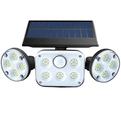 Solar Motion Sensor Lights Outdoor Waterproof 360° Adjustable 3 Head LED Flood Security Lights,Three Lighting Modes, High Power Solar Wall Light for Garden ,Garage, Patio, Yard