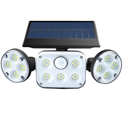 Solar Motion Sensor Lights Outdoor Waterproof 360° Adjustable 3 Head LED Flood Security Lights,Three Lighting Modes, High Power Solar Wall Light for Garden ,Garage, Patio, Yard
