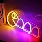 """Ghost Neon Signs Specter LED Lights Sign PS4 Gamer Room Retro Arcade Decor 16.7""""x5.9"""" with USB/Switch Ghost Neon Kids Lights Hang up for Gaming Zone Man Cave Birthday Christmas Gift"""