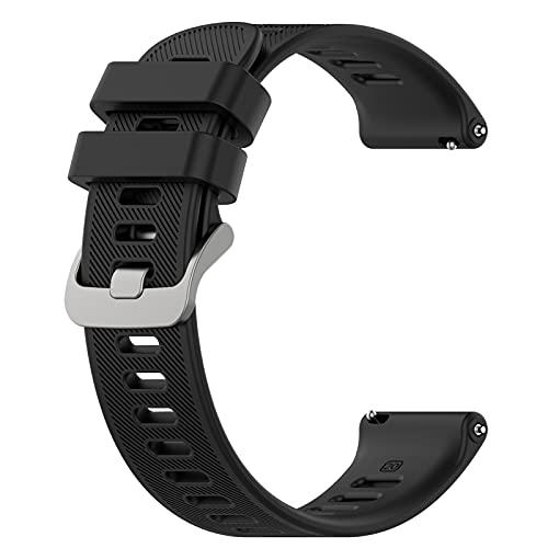 AWADUO Compatible con Garmin Forerunner 55 correas de reloj, 20 mm de repuesto de silicona para Garmin Vivoactive 3, Garmin Vivoactive 3 Music (negro)