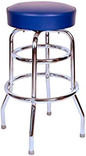 Richardson Seating Double Rung Backless Swivel Bar Stool with Chrome Frame and Seat, Blue, 30