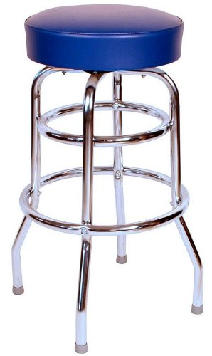 Richardson Seating Double Rung Backless Swivel Bar Stool with Chrome Frame and Seat, Blue, 30""