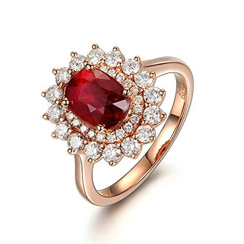 Bishilin Oro Rosa 18K Anillos de Boda Rojo Rubíforma de Flor con Incrustaciones 2.03Ct Rubí de Sangre de Paloma con Diamante de 0.75Ct Rosa Dorado Rojo Anillo de Compromiso Anillo de Mujer Talla:6,75