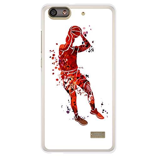 BJJ SHOP Funda Transparente para [ Huawei G Play Mini ], Carcasa de Silicona Flexible TPU, diseño: Jugador de Baloncesto Watercolor