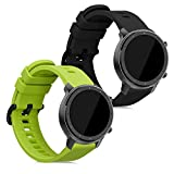 kwmobile Pulsera Compatible con Huami Amazfit GTR (47mm) / GTR 2 / GTR 2e - 2X Correa de TPU para Reloj Inteligente - Negro/Verde