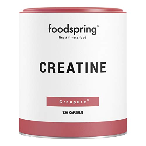 foodspring Creatine, 120 Capsules, Vegan, 100% Pure Premium Quality Creatine Monohydrate, Booster for Muscle Building