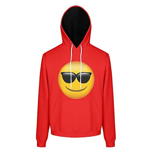 RQPPY Mens Casual Sweatshirts Hoodies Emoji Sonnenbrillen Fit Sweat Hoodie Für Männer White s