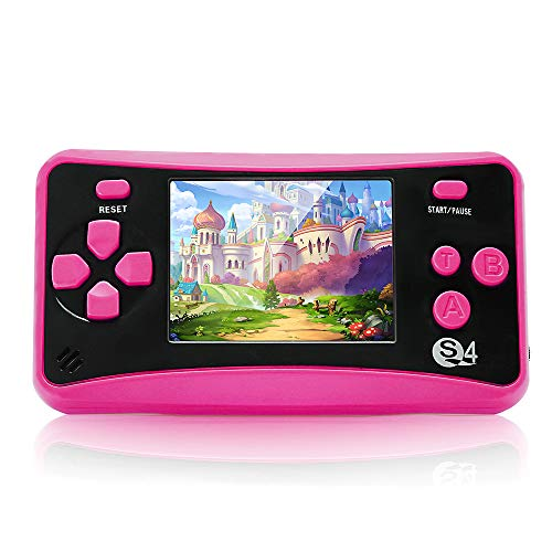 Handheld Game Console for Children Ages 4-12 , Built-in 182 Retro Classic Games 2.5' LCD Screen Portable 8 Bit TV Output Video Game Player Best Birthday Gift for Girls -RED