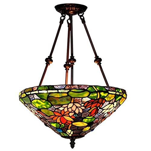 CHHD Lámpara Colgante de lámpara de luz, Luces Colgantes de Vidrio con diseño de Loto de 16 Pulgadas, Comedor, Sala de Estar, balcón, araña