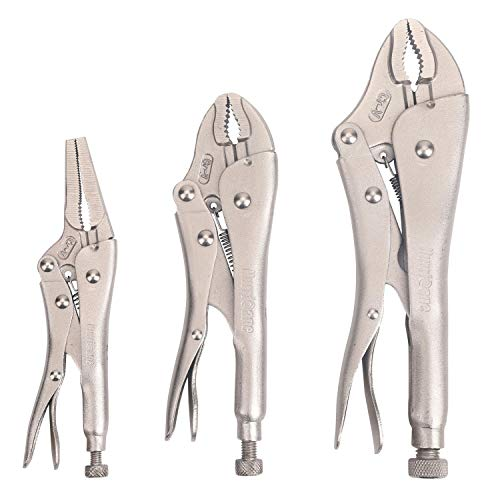 Hurricane 3 Piece Locking Pliers Set, Chrome Vanadium steel, curved and long nose locking pliers