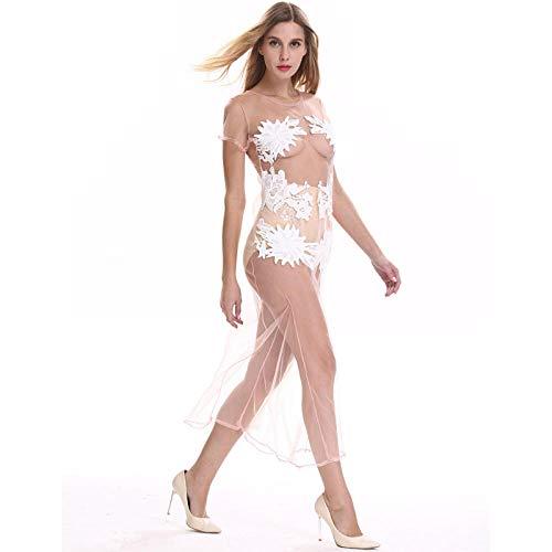 CZXN Vestidos eróticos de Mujer Señoras Adultas Hilo de Red Transparente lencería Sexy Falda Larga camisón Jacquard Sexy-_S