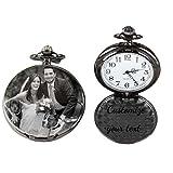 Athak Cadena de Reloj de Bolsillo de Cuarzo Personalizada Foto Personalizada clásica Suave Vintage para Hombres Mujeres, papá, Regalo del día del Padre Recuerdo