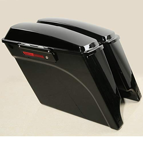 TCT-MT 5' Stretched Extended Hard Saddlebags W/Latch Keys Fit for Harley Touring Models FLT FLHT FLHTCU FLHRC Road King Street Electra Glide Ultra-Classic 1993-2013