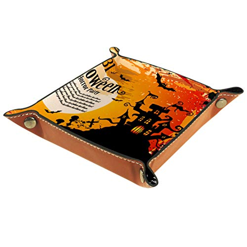Leder Valet Tray, Würfel Tray Folding Square Holder, Kommode Organizer Platte für Wechsel Münzschlüssel Halloween Party Castle Moon Bat