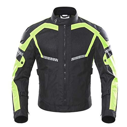 DNJKH Chaqueta de Moto Transpirable para Hombre, Chaqueta de Malla para Montar en Moto con CE Protector Desmontable de Verano