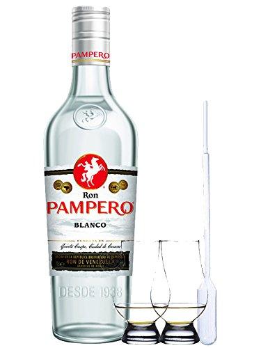 Pampero Blanco Rum Venezuela 0,7 Liter + 2 Glencairn Gläser und Einwegpipette