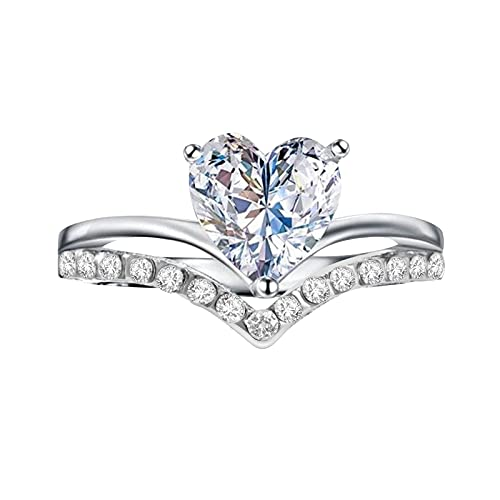 certainPL Women Heart Shaped Plated Zircon Diamond Engagement Ring Trendy Promise Dainty Eternity Proposal Anniversary Ring (Silver, 10)