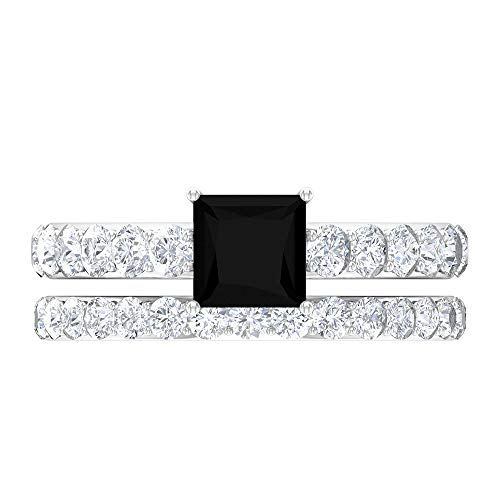 Anillo de diamante negro para solitario de 2,07 CT, D-VSSI Moissanite, anillo de compromiso de 5,5 mm, corte princesa, 14K White Gold, Lab Created Black Diamond, Size:US 47