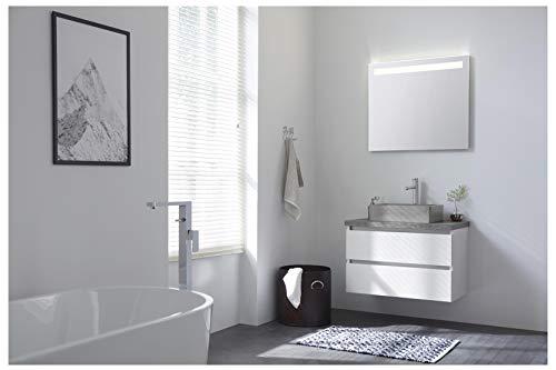 KiBad - Type 5-80 cm Badmöbel-Set - Badset, Komplettset, 4-teilig mit LED-Spiegel, gerades Keramik-Aufsatzwaschbecken - Front u. Korpus in weiß matt, EEK: A+ (Spektrum A++ - A)