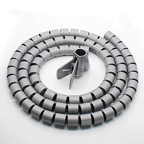 1 cable de alambre para organizar espiral, cable Winder Cord, protector flexible de gestión de red, 16 mm x 1 m, color gris