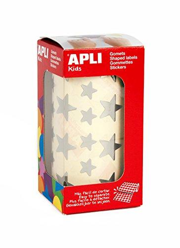 APLI Kids - Rollo de gomets estrella, color plata