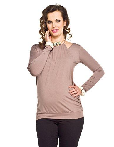 Elegantes und bequemes Stillshirt, Umstandsshirt, Modell: Perla, Langarm, Cappucino, S