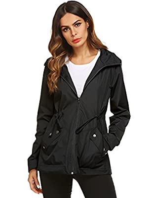 Raincoat,Women's Windproof Casual Backpacking Warm Rain Jacket Active(Black,L)