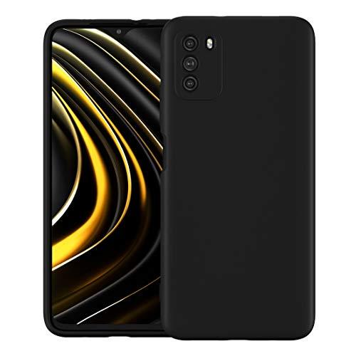 Foluu Schutzhülle für Xiaomi Poco M3, flüssiges Silikon-Gel, Gummi, Stoßfänger mit weichem Mikrofaser-Innenfutter, dünn, stoßfest, Schutzhülle für Xiaomi Poco M3 2020 (schwarz)