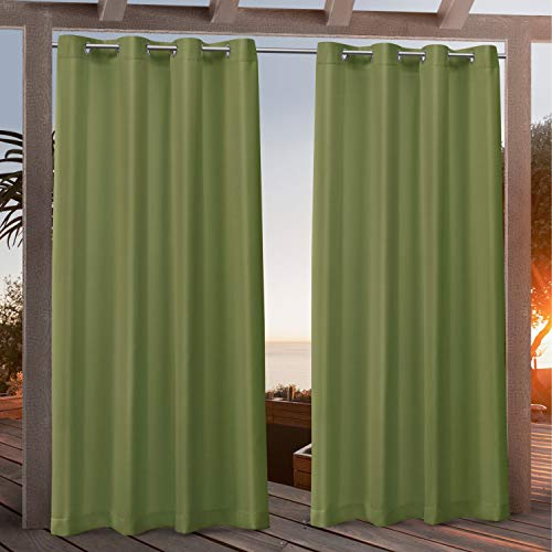 Exclusive Home Curtains Canvas Indoor/Outdoor Grommet Top Curtain Panel Pair, 54x96, Green Apple
