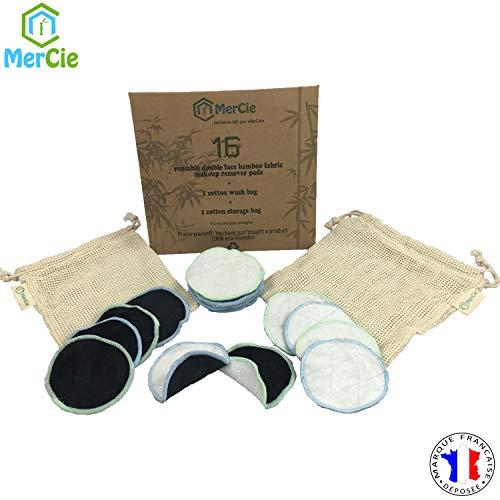 Tampons démaquillants lavables double face | 16 disques en bambou réutilisables + 2 sacs en coton (lavage et rangement) | Cotons démaquillants ultra-doux | Emballage en carton recyclé. 0 plastique