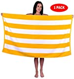 Turquoise Textile 100% Turkish Cotton Eco-Friendly Cabana Stripe Pool Beach Towel, 35x60 Inch (1 Pack, Yellow)