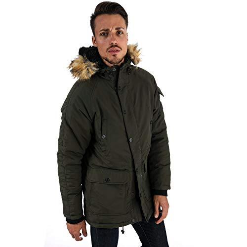 Mens Crosshatch Black Label Renzone Raglan Wadded Parka Jacket in Green