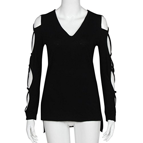 Women Tee Shirt,Neartime Casual Club Tops Sexy Shirts Hollow Sleeve Blouse (XL, Black) Photo #4
