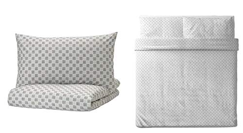 Ikea SILVERFRYLE King Size Duvet Cover and Pillowcase, 100% Cotton White/Gray 104 Thread Count