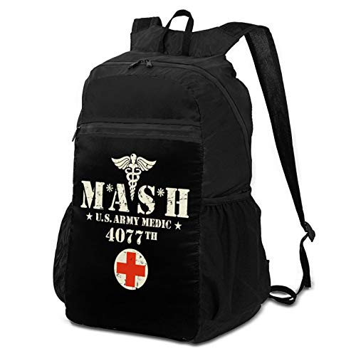 MASH 4077th U.S. Army Medic Unisex Folding Packable Durable Portable Travel Hiking Backpack Waterproof Sports Bag