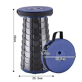GrandCA HOME Tabouret de Chaise Pliante Portable, Tabouret télescopique à Hauteur réglable, adapté au Camping, à la pêche, au Barbecue (Bleu)