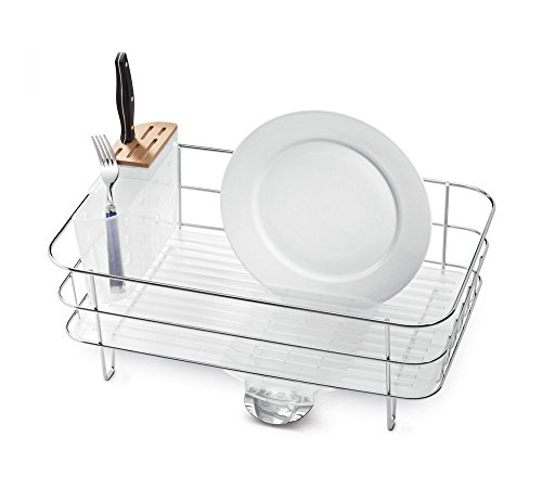simplehuman Kitchen Slim Wire Frame Dish Rack With Removable Spout, Stainless Steel