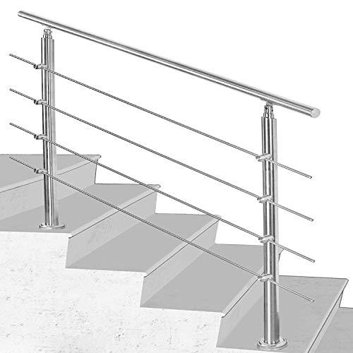 Hengda Pasamanos escalera acero inox 150 * 4.2 * 106.5cm,4 barras,barandilla con kit de instalación,para interiores y exteriores, escaleras, balcón, balaustrada