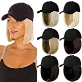 Qlenkay Baseball Cap with Hair Extensions Straight Short Bob Hairstyle Adjustable Removable Wig Hat 14inch for Woman Girl Light Brown