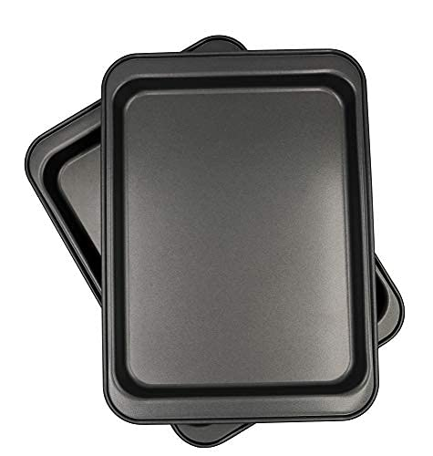 Juego de 2 hojas de galletas para horno tostador, 24,8 x 18,4 cm, antiadherentes, de acero