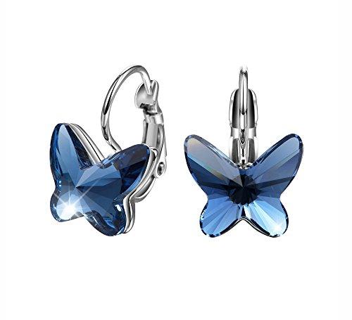 T400 Jewelers Mariposa Hoop Pendientes para Regalo de Mujeres de Swarovski Elements Cristales Regalo de San Valentín