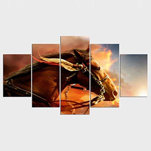 Decoratie afbeeldingen vintage 5 panelen dierpaard huisdecoratie schilderij op canvas poster en afdrukken afbeelding aan de muur (geen lijst) 10x15 10x20 10x25cm